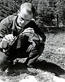 1958. Insect checker Jon Hessle collecting spruce budworm larvae to determine development. Western spruce budworm control project. Blue Mt. Summit, Oregon. (33021656252).jpg