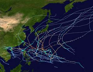 1963 Pacific typhoon season - Image: 1963 Pacific typhoon season summary map