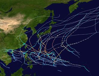 1963 Pacific typhoon season - Image: 1963 Pacific typhoon season summary map