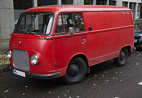 1965 Ford Taunus Transit in red, Berlin (front left).jpg