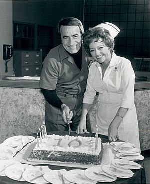 General Hospital - John Beradino and Emily McLaughlin celebrating the 10th Anniversary of the show in 1973.