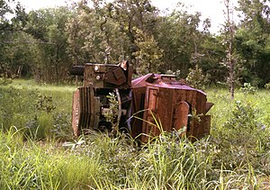 Guinea-Bissau War of Independence - A destroyed Portuguese armoured car in Guinea-Bissau