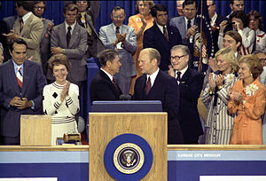 United States presidential election, 1976 - The 1976 Republican National Convention at Kemper Arena in Kansas City. Vice Presidential nominee Bob Dole is on the far left, then Nancy Reagan, Ronald Reagan is at the center shaking hands with President Gerald Ford, Vice President Nelson Rockefeller is just to the right of Ford, followed by Susan Ford and First Lady Betty Ford.