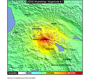 1988 Armenian earthquake - USGS shakemap showing the December 7 mainshock intensity