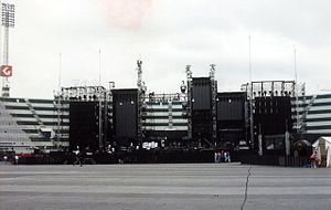 "Zoo TV Tour - The ""Zooropa"" version of the stage, before a concert in May 1993"
