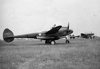 RAF Goxhill - 20 July 1942 of P-38 Lightnings, including (serial number 41-7631) of the 1st Fighter Group at Goxhill.