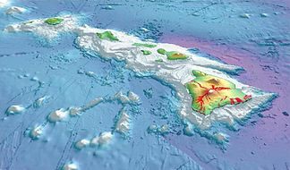 Hawaiian islands wikipedia 3 d perspective view of the southeastern hawaiian islands with the white summits of mauna loa 4170 m or 13680 ft high and mauna kea 4206 m or 13799 sciox Choice Image