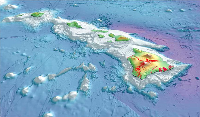 3-D perspective view of the southeastern Hawaiian Islands, with the white summits of Mauna Loa (4,170 m or 13,680 ft high) and Mauna Kea (4,206 m or 13,799 ft high) 2003-3d-hawaiian-islands-usgs-i2809.jpg