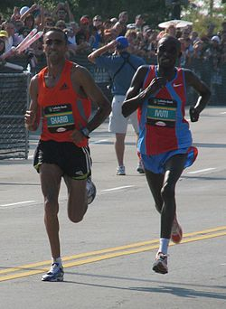 The Final 200 Meters Of 2007 Chicago Marathon Was A Shoulder To Race Between Ivuti Right Jaouad Gharib Left