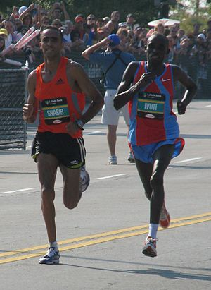 Patrick Ivuti - The final 200 meters of the 2007 Chicago Marathon was a shoulder to shoulder race between Ivuti (right) Jaouad Gharib (left).