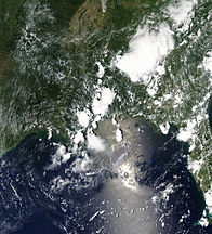 Oil  spreading north-east from the leaking Deepwater Horizon well in the Gulf of Mexico