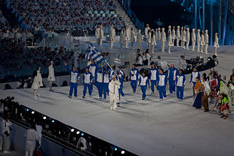 Olympic Games ceremony - As per tradition, Greek athletes lead the Parade of Nations during the opening ceremony of the Vancouver 2010 Winter Olympics