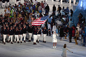 United States at the 2010 Winter Olympics - The United States team entering during the opening ceremony.