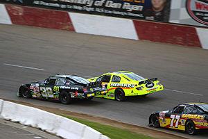 2013 ARCA Racing Series - Frank Kimmel and Mason Mingus battling at Elko Speedway