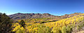 2014-10-04 13 59 01 Panorama of Aspens during autumn leaf coloration and the Copper Mountains from Charleston-Jarbidge Road (Elko County Route 748) in Copper Basin about 10.7 miles north of Charleston, Nevada.JPG