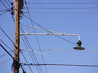Street Light From The 1950s Attached To A Utility Pole In New Jersey