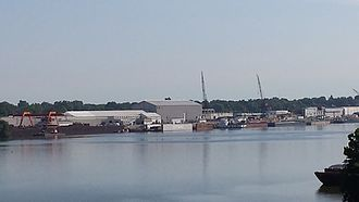 Jeffersonville, Indiana - Part of Jeffboat in Jeffersonville. Jeffboat is the largest inland shipbuilder in the U.S.