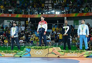 Wrestling at the 2016 Summer Olympics – Men's freestyle 65 kg - Image: 2016 Summer Olympics, Men's Freestyle Wrestling 65 kg awarding ceremony 2