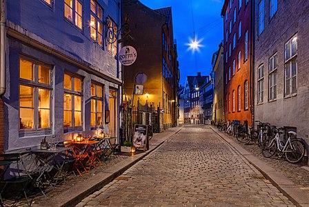 Magstræde street in evening, Copenhagen, Denmark.