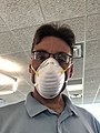 2020-04-09 16 19 52 Man wearing a MCR Safety MCRN951 401-090805 NIOSH N95 Particulate Respirator during the COVID-19 pandemic in the Dulles section of Sterling, Loudoun County, Virginia.jpg