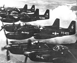 Battle of Pusan Perimeter order of battle - Flight of F-82 Twin Mustangs heading to Korea in June 1950.