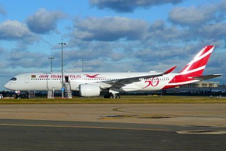Air Mauritius - One of the company's two A350s at London-Heathrow