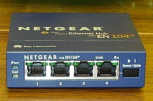 Medium-dependent interface - Hub with three MDI-X ports and one switchable port, circa 1998