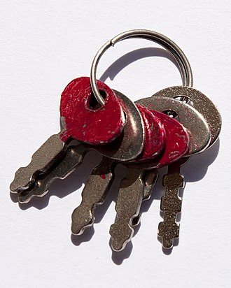 Distinguishing coloring - A distinguishing coloring of a ring of six keys, using two colors (red and unpainted)