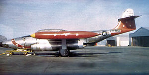 Presque Isle Air Force Base -  74th Fighter-Interceptor Squadron Northrop F-89C-40-NO Scorpion, AF Ser. No. 51-5851, circa 1954