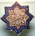 8-pointed star tile, luster technique, glazed. Ilkhanate period, Late 13th century - early 14th century CE. From Kashan, Iran. Museum of Islamic Art (the Tiled Kiosk), Istanbul, Turkey.jpg