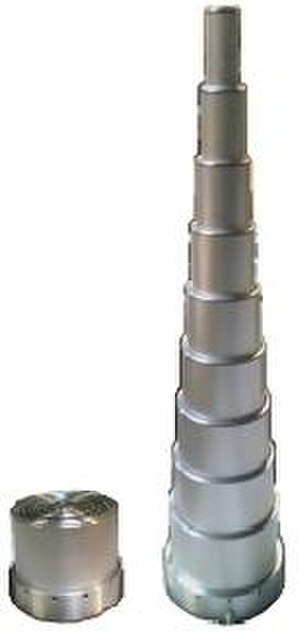 Pneumatic cylinder - pneumatic telescoping cylinder, 8-stages, single-acting, retracted and extended
