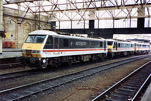City of Carlisle - British Rail Class 90s in Carlisle Citadel station in the 1990s under British Rail.