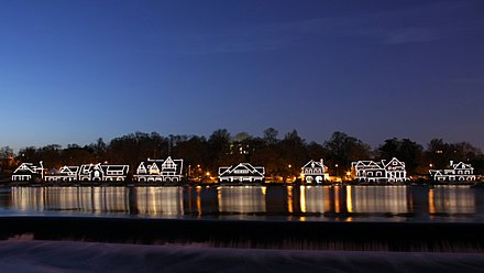Historic Boathouse Row at night on the Schuylkill, a symbol of the city's rich rowing history A358, Philadelphia, Pennsylvania, USA, Boathouse Row at night, 2009.JPG