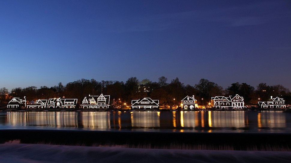 A358, Philadelphia, Pennsylvania, USA, Boathouse Row at night, 2009