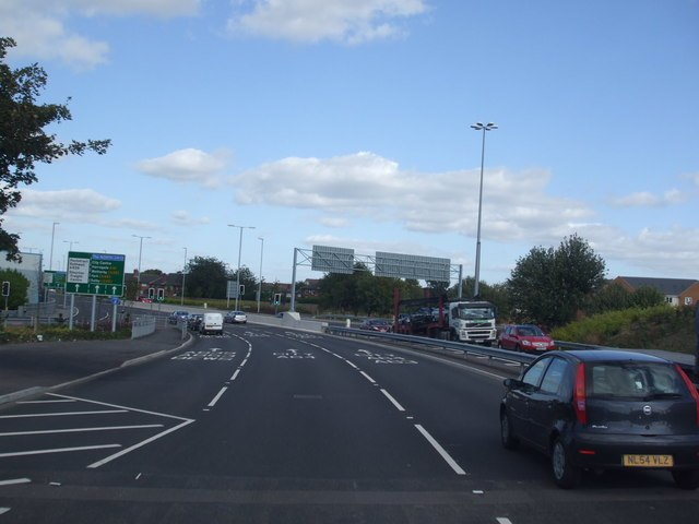 A61 at M621 junction 4 - geograph.org.uk - 1481062