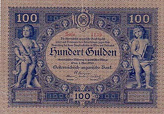 Paper money of the Austro-Hungarian gulden - Image: AHG 100 1880 obverse