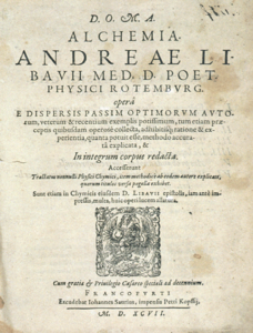The yellowed title page of Andreas Libavius's Alchemia, in Latin.