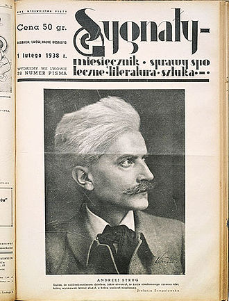 Sygnały -  The front page of Sygnały magazine, February 1938, commemorating the death of Andrzej Strug.
