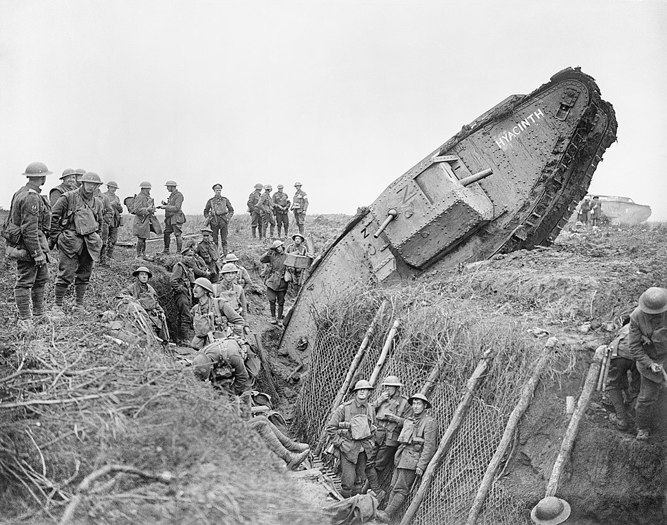 A Mark IV (Male) tank of 'H' Battalion, 'Hyacinth', ditched in a German trench while supporting 1st Battalion, Leicestershire Regiment near Ribecourt during the Battle of Cambrai, 20 November 1917. Q6432