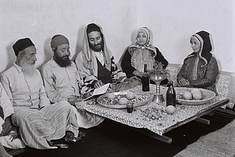 Yemenite Jews - Yemenite family reading from the Psalms