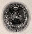 A faun surrounded by fairies. Engraving by F. Bacon. Wellcome V0036046.jpg