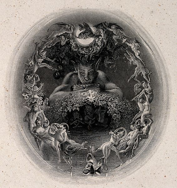 File:A faun surrounded by fairies. Engraving by F. Bacon. Wellcome V0036046.jpg