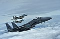 A formation of F-15C Eagles and an F-15E Strike Eagle fly over (28413244620).jpg