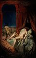 A provocative naked young woman lying on a bed, death (a clo Wellcome V0017057.jpg
