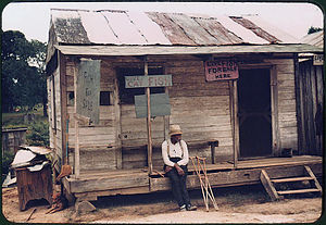 Natchitoches, Louisiana - A store with live fish for sale near Natchitoches, 1940. Photo by Marion Post Wolcott.