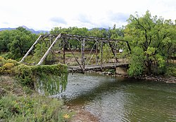 An abandoned bridge over the Arkansas River in Coaldale
