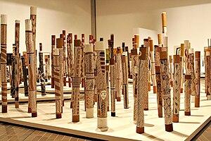 Contemporary Indigenous Australian art - Aboriginal Memorial by Ramingining artists from Arnhem Land