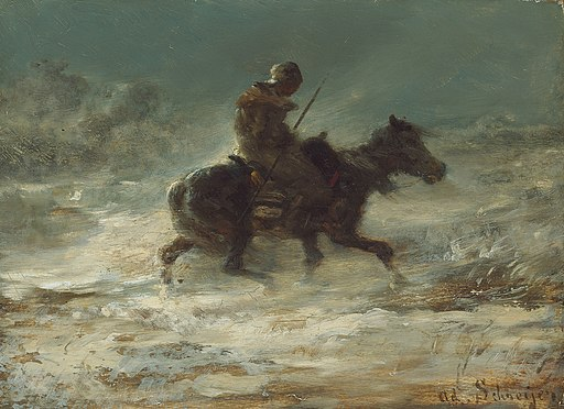 Adolphe Schreyer - Man with Lance Riding through the Snow - 1894.1067 - Art Institute of Chicago