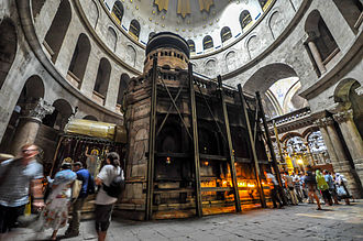 Order of the Holy Sepulchre - The Aedicule inside the church, alleged enclosing of the tomb of Jesus Christ.