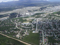 Aerial view of Whitehorse and the Yukon River
